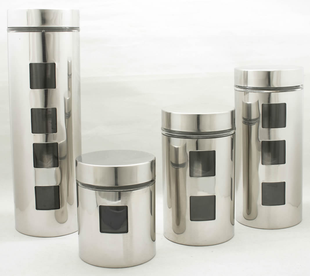 Glass Line Stainless Steel With Glass Window Kitchen Canister Set