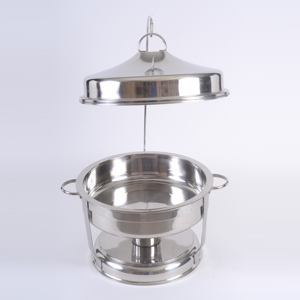 Chafing Dish Round With Lid Stand Golden Chef