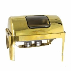 Chafing Dish Gold Rectangular Window-Rolltop