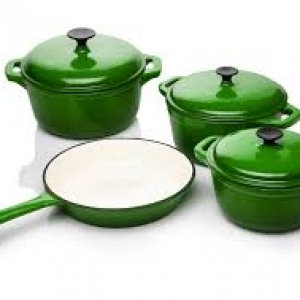 Cookware Set Cast Iron Green -7 Piece