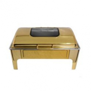 Chafing Dish Gold Square Flat Top Window