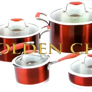 Cookware Set Stainless Steel Metallic Red Heavy Base-12 Piece