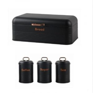 Breadbin-Steel Design with 3 Piece Matching Canister Set-Black