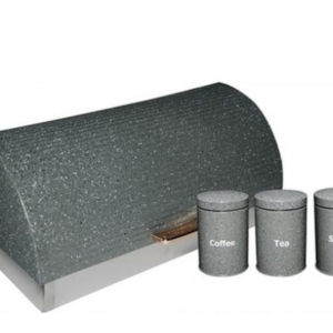 Breadbin-Rolltop New Design With Matching Canister Set-Grey