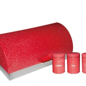 Breadbin-Rolltop New Design With Matching Canister Set-Red