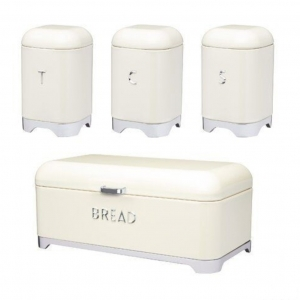 Breadbin Retro Design with 3 Piece Matching Canister Set-Cream
