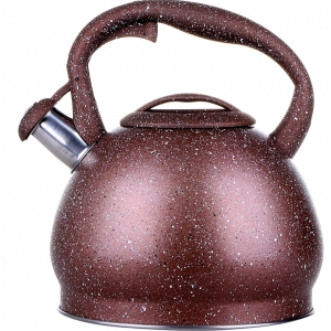 Stove Top Kettle 3 Litre Non-Electric (Induction) with Whistle-Brown Marble Finish