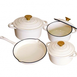 Cast Iron 7 Piece Cookware Set – Cream White and Gold Collection